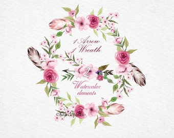 Watercolor Wreath  feathers and rose, Watercolor bouquet arrow, Wedding clipart, feathers  flowers  Wreaths, Floral Wreaths,  clipart.