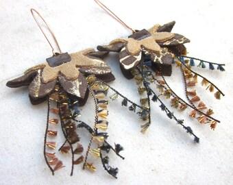 Leather earrings flower earrings dangle earrings earth shades beige brown long drop earrings bohemian hippie