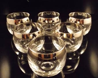 Vintage Roly Poly Glass Silver Band Trim 4 Ounces Set of 6