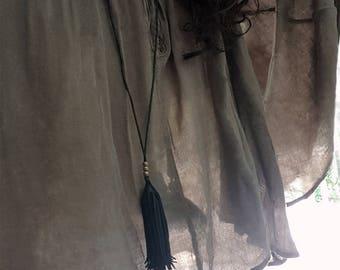 Imani/Kimani Long Fringe Tassel Leather Necklace & Fringe Tassel Earrings Set, Long Pendant Necklace, Tribal Boho Gypsy Leather Cord Jewelry
