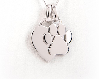 Engraved Paw Print Necklace - Sterling Silver - Paw Print Charm, Dog Owner Gift, Dog Lover Gift, Dog Memorial Jewelry or Remembrance Dog Paw