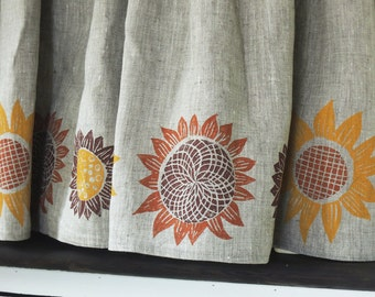 Autumn Sunflowers natural linen cafe curtains or valance pumpkin mustard yellow fig hand block printed kitchen harvest fall home decor