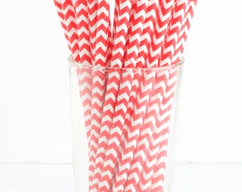 Red Chevron Stripe Paper Straws- Set of 25 Red & White Paper Straws- Great touch for red and white themed parties!
