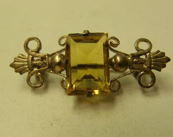 Antique Yellow Topaz Pin Back Brooch