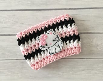 Kitty cup cozy, cat cup cozy, pet lover gift, cat coffee cozy, veterinarian gift, vet tech,coffee cup cozy, coffee cup sleeve, crochet cozie