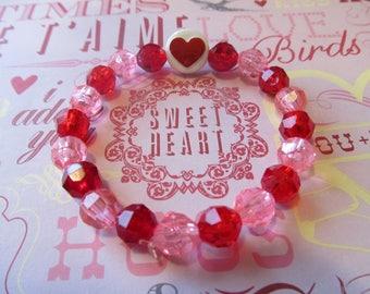 Red Valentine Heart Beaded Bracelet-Valentine Bracelet-Heart Bracelet-Valentine Gifts-Gifts for Her-Gifts for Girls-Girls Bracelets