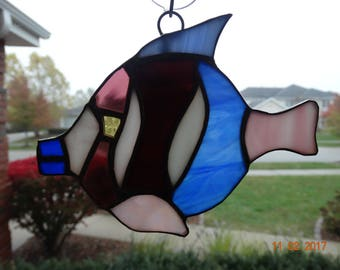 Stained glass tropical fish suncatcher