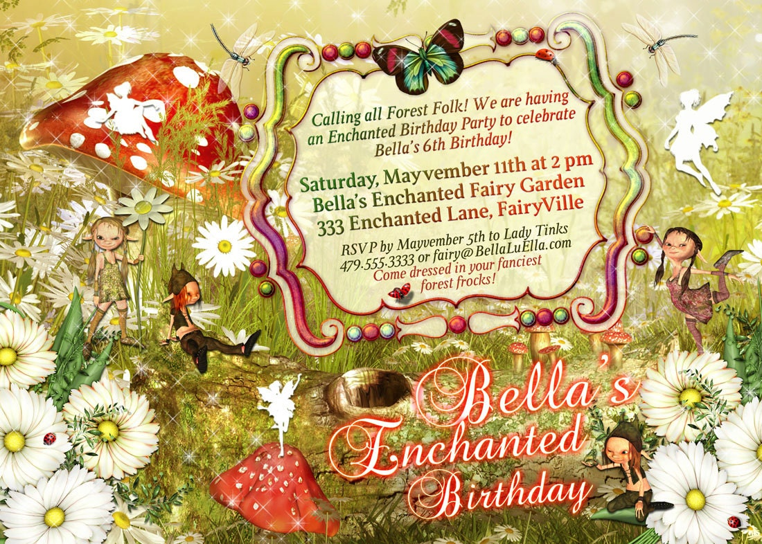 Fairies and Elves Party Invitations Fairy Party Enchanted