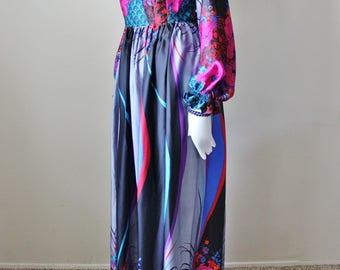 Vintage maxi dress, 1960s, floral, empire waist, long sleeve, deep v. Size M/L
