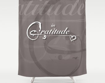 Gratitude Color Mocha, Shabby Chic, Shower Curtain,  Type, Typography Art,  from Original hand painted type Kathy Morton Stanion  EBSQ