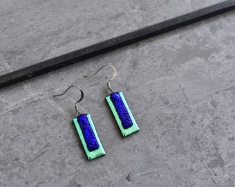 Turquoise and Deep Cobalt Blue  Dichroic Glass Earrings