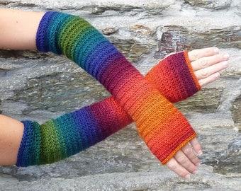 """Long fingerless gloves crochet """"Sweet November"""" - one size"""