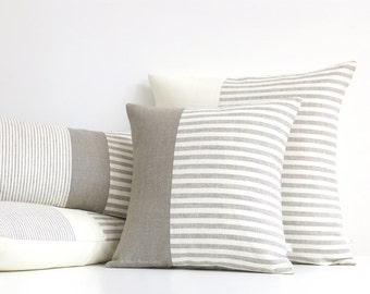 Minimal Striped Linen Pillow Cover, 16x16 or 20x20, Neutral Home Decor by JillianReneDecor, Two Tone in Beige and Ivory, Scandinavian MS01