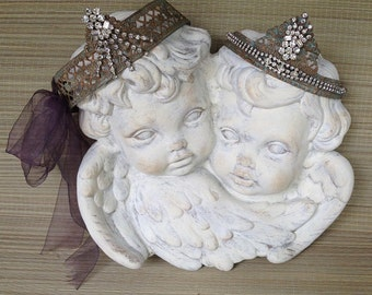 French Cherub Statue Wall Plaque With Wings, Chippy White Painted Distressed Vintage Cupid Angels, Shabby Chic Cottage, Handmade Home Decor
