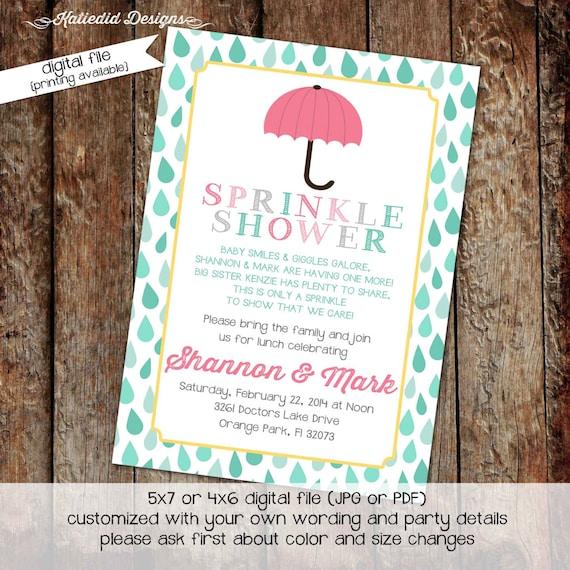 shower with love invitation surprise gender reveal diaper wipe brunch co-ed shower baby sprinkle umbrella raindrops 1429 Katiedid Designs