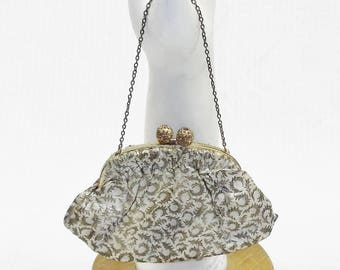 50s 60s Vintage Gold Metallic Brocade Evening Purse Made in France