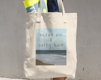 Mens and Womens Ocean Air and Salty Hair Beach Adventure Lifestyle Shopping Travel and Tote Bag