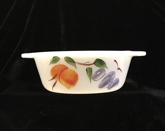 Fire King Gay Fad Small Casserole Dish with Fruits - Hand Painted - One Pint - Anchor Hocking - Vintage