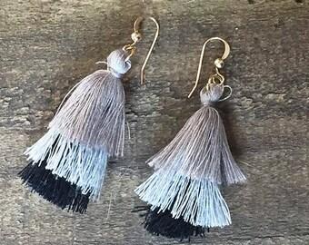 OMBRE Yarn PUFFY TASSEL Earrings * 14k Gold Filled Wires * Grey * Black * Gray * Trendy * Fun