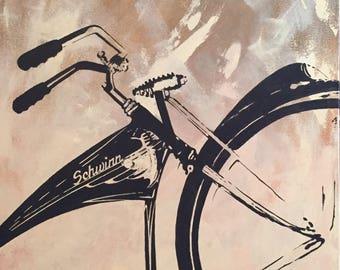 "Vintage Schwinn Bike Painting by artist Jon Edmondo. Beautiful art. 30 x 24 x 2"" wrapped canvas."