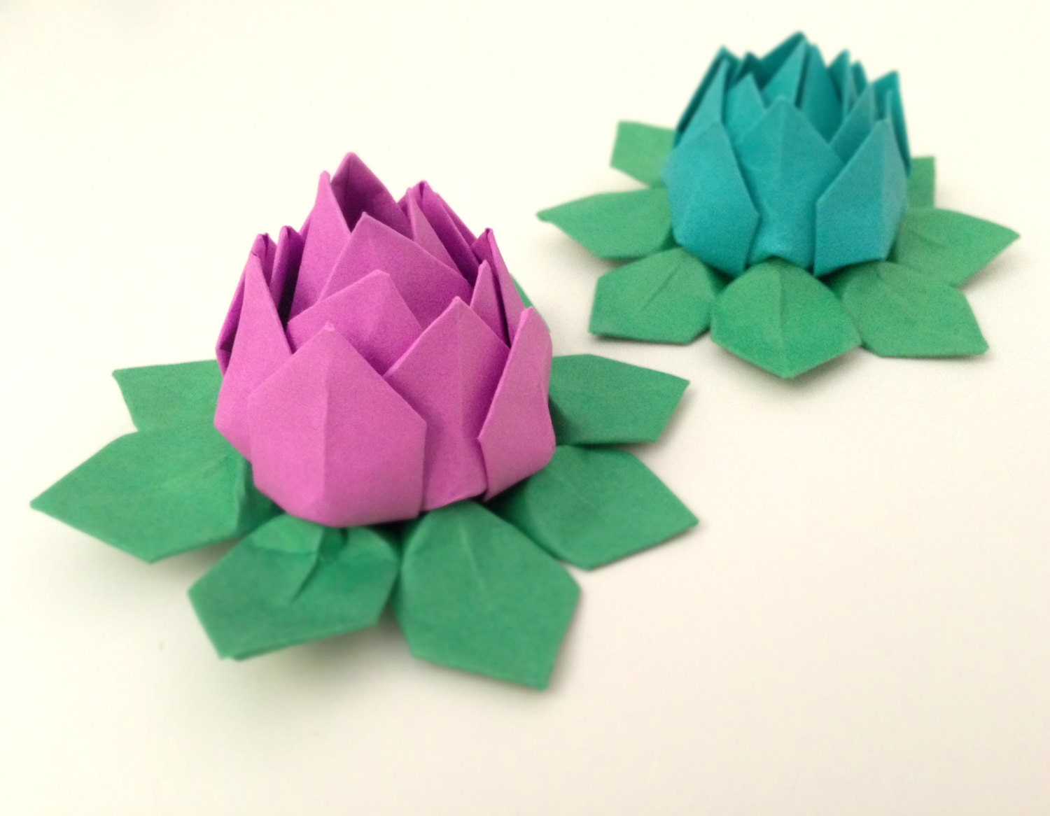 12 Water Lilies Lotus Origami Paper Flowers Solid Colors