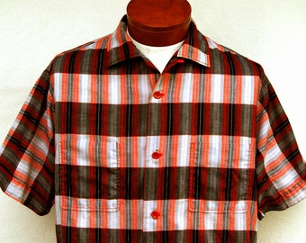 Vintage 1950s Red Gray Plaid Metallic Shirt for Men by Pilgrim Loop Collar Button Down Short Sleeve M Bowling 50s Clothing