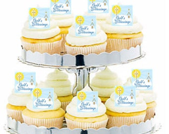 12pk First Communion Baptism God's Blessings Cupcake  Decoration Toppers Picks
