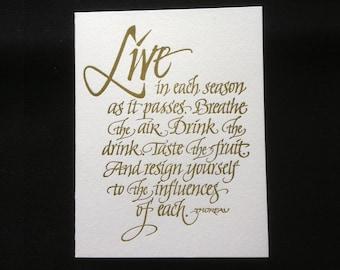 Calligraphic Letterpressed Card (Thoreau quote)