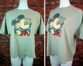 Vintage Mickey Mouse Shirt Disney Mickey Tee XL 90s Mickey Mouse Crop T Shirt Plus Size Crop Top Summer Shirt 90s Vintage Tee Disney Shirt
