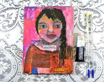 Original Acrylic Teacher Portrait Painting. Mixed Media Collage Art. Pink Wall Hanging. School Wall Decor
