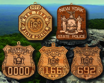 Personalized Wooden NY State Police Badge or Patch Hanging Ornament