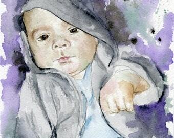 Custom children family kids Portrait Watercolor Painting