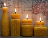 Beeswax Candle Collection - Sample Platter - Lime Juice, Apothecaries, Vaseline Jar -and- Diamond InkWell. Sm.