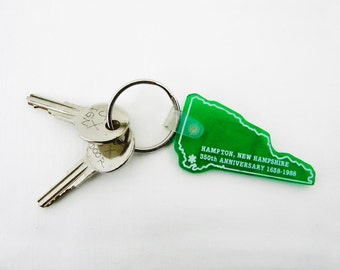 Hampton NH Anniversary Key Tag, Green Silicone State Outline, Includes Airplane Keys