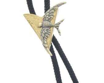 Bird in flight  Bolo Tie,  , antique brass  bolo charm made in USA