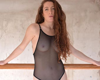 See through bodysuit, high neck, sheer mesh bodysuit, see thru, cheeky, low back, scoop back, backless, halter, one piece, leotard