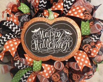 Happy Halloween Wreath, Halloween Wreath, Happy Halloween, Wreath, Wreaths, Halloween wreaths,Happy Halloween, Pumpkin Wreath