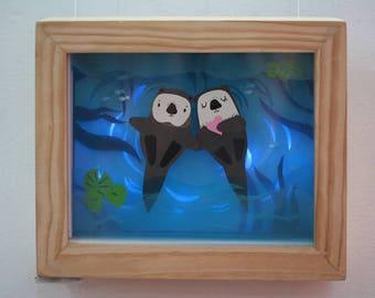 Otters in love paper diorama