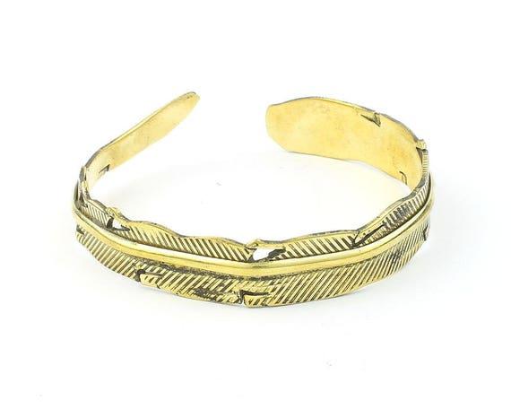 Brass Feather Bracelet, Free Spirit Lower Arm Cuff, Western, Bangle, Indian, Boho, Bohemian, Gypsy, Festival Jewelry