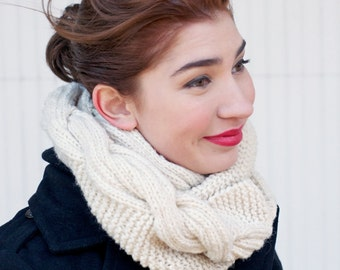 Infinity Scarf Gifts Under 20, Stocking Stuffer, Gifts For Her, Hand Knit Cream