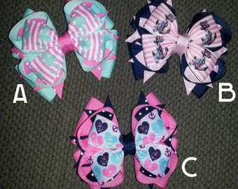 Anchors SeaHorses Handmade Stacked Boutique Bow
