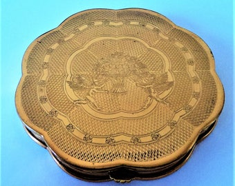 Elegant 'Gwenda' Powder Compact... Goldtone Metal... Flower Basket and Cherubs
