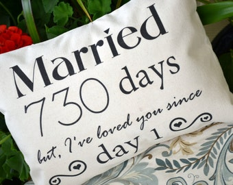 Personalized pillow, Cotton anniversary, gift for her, gift from groom, 2nd anniversary, best romantic gift, second year, 5 year anniversary