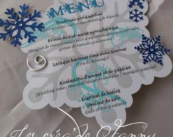 Winter snowflake themed menu
