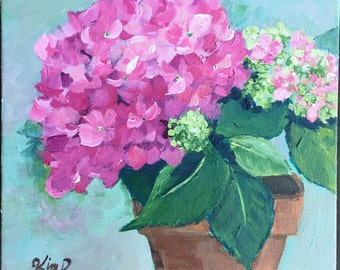 Original painting: Pink Hydrangeas with teal background , floral, still life, canvas,  original art