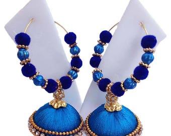 Multicolour Silk thread earring