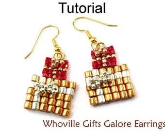 Holiday Beading Pattern - Beaded Christmas Earrings Jewelry Making Tutorials - Simple Bead Patterns - Whoville Gifts Galore #10526
