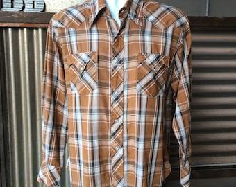 Vintage 1970s Pearl Snap Western Shirt M/L