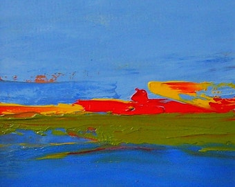 SUNSET ABSTRACT RHOSCOLYN 2015. Original Oil Landscape Painting. Varnished.
