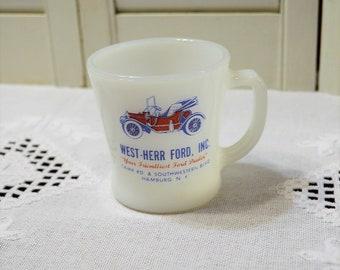 Vintage Fire King West Herr Ford Mug Milk Glass Automotive Advertising New York Car Dealer Red White Blue PanchosPorch